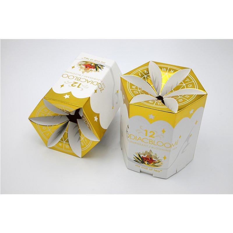 Gold Stamping Tea Paper Packaging Box In Petal Shape